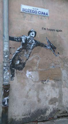 """""""I am happy again"""" graffiti art in Kazimierz, the old Jewish district, Krakow"""