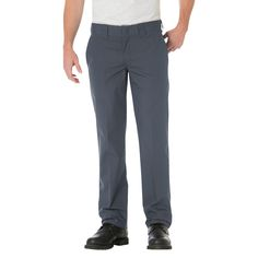Dickies Men's Slim Straight Fit Lightweight Poplin Pant- Charcoal (Grey) 42x32