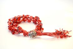 Red Odyssey Bracelet Red Wax Cotton cord bracelet by OxyFineCrafts