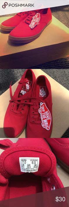 Vans sneakers, brand new-not in original box These are the classic red vans with brown bottoms, they are brand new with the tag. Women's size 8.5 and men's size 7 Vans Shoes Sneakers
