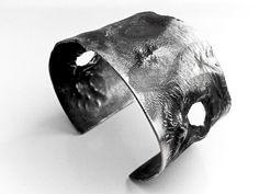 Reticulated Silver Bracelet Cuff - Depletion Gilding - Patterned Copper & Fine Silver Melted Warped Antique Reticulation Timeworn OOAK