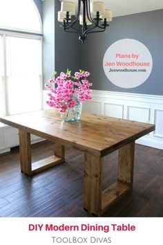 For under $120 you can build this DIY Husky Modern Dining Table. Get the look of luxury for less.  Free woodworking plans by Jen Woodhouse. Built by ToolBox Divas