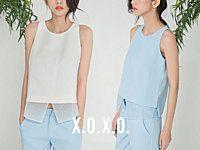 X.O.X.O. 【T061105】0611 設計師款好品質菱格布料削肩下擺拼紗短款背心 藍/白/黑XS/S/M 少現+預 | x.o.x.o. - 490