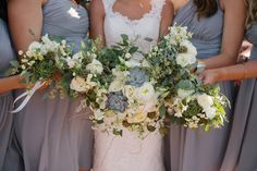 Earthy Bride & Bridesmaids Bouquets with succulents by Harvest Moon Events | Photography by Claire Marika Buys | Location Lookout Cabin Park City Mountain | www.harvestmoonevents.com