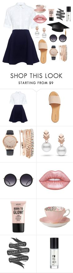 """//Grad and Glad//"" by galaxygurl411 ❤ liked on Polyvore featuring Paul & Joe Sister, Hinge, Jessica Carlyle, Escalier, Alice + Olivia, Lime Crime, NYX, Royal Albert, Native State and Charlotte Russe"