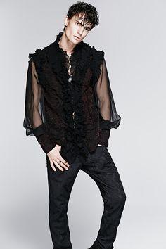 2015 Wholesale Summer Gorgeous Falbala High Collar Gothic Man Shirt