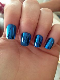 Super blue, sapphire, cobalt mirror nails | shiny, metallic | from Tumblr