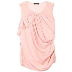 Nina Ricci Draped Top ($297) ❤ liked on Polyvore featuring tops, shirts, blouses, tank tops, rose petale, pink top, nina ricci top, drape top, drapey top and pink shirt