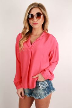 This classic blouse is perfect for the office, or a night on the town! Pair it with dark skinnies, a glam necklace, and booties! For a night out, just add a leather jacket, and you will look gorgeous with hardly any effort! Available in two colors.