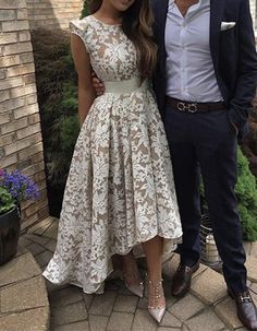 High-low Prom Dress,Cute Round Neck Lace Prom Dress