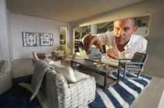 Blue and White  | Striped Rug | Jeffrey Allen Marks | Interior Design | Miniature | Dollhouse | Scale Model | UCLA