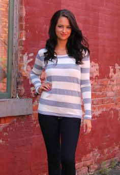 FALL IN LINE sweater in ivory and heather gray. Love the back of this little top. 26.00