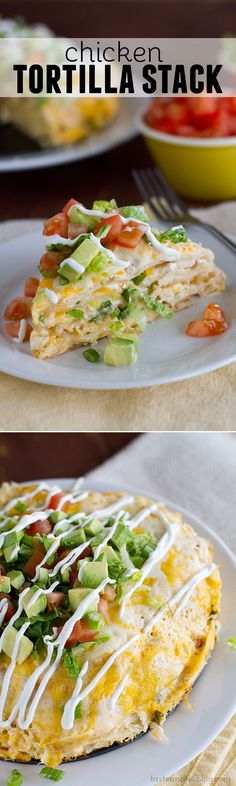 With layers of flavor, this easy to assemble Chicken Tortilla Stack is great for a weeknight meal, or even for company.: