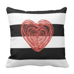 Black and White Stripes with Red Heart Throw Pillow