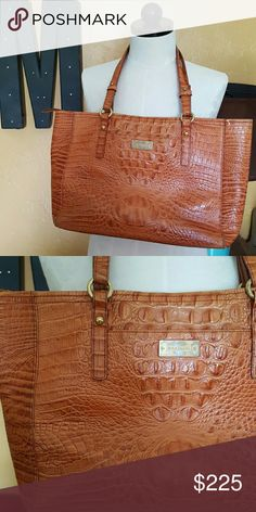 COMING SOON! Caramel Brahmin Croc Zipper Tote EUC Gorgeous and so classy! I once read that 22 artisans will touch these bags as they are made.  They are great quality. Made in the USA. You will have this bag forever! Bag is being professionally cleaned and more pics will be available soon! 10 in strap drop. 17 x 9.5 x 4.  Dust bag included. Brahmin Bags
