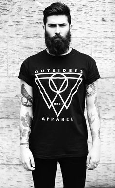 Black & White. Tee. Outsiders Apparel. Indie. Hip. Triangle. Beard. Fashion. Men. Clothing. Street Style. Tattoo. Sleeve. Slim. Rolled Up. Birds. Handsome.