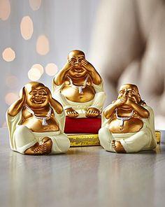 Three wise 'hear no, see no, speak no evil' Buddhas. Casino Tattoo, Wise Monkeys, Buddha Art, Life Lesson Quotes, Luxury Home Decor, Poinsettia, Pop Art, Decoupage, Gallery Wall