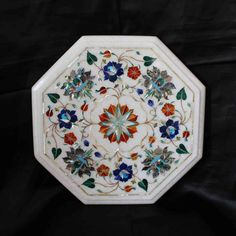 Coffee Table Top White Marble Antique Italian Inlay Floral Vintage living room furniture home decor Rare Persian Pietra Dura Taj Mahal Agra