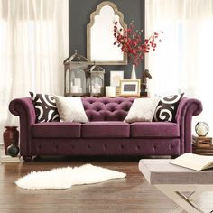 TRIBECCA HOME Knightsbridge Linen Tufted Scroll Arm Chesterfield Sofa