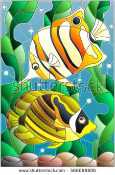 Illustration in stained glass style with a pair of fish butterfly on the background of water and algae Faux Stained Glass, Stained Glass Designs, Stained Glass Patterns, Glass Painting Designs, Paint Designs, Bird Fountain, Fish Coloring Page, Illustration, Fish Art