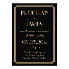 Great Gatsby Art Deco Black Wedding Invitations
