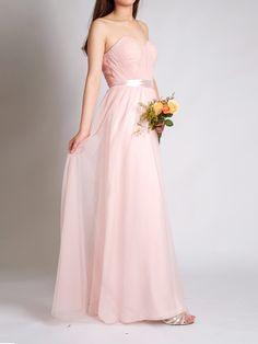 Floor Length Sheer Flowy Tulle Pastel Pink Bridesmaid Dresses