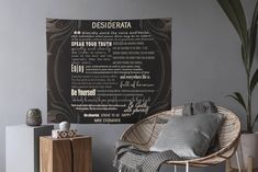 Desiderata Poem Tapestry - Art Deco Quote Tapestry - Light Bringer Poem - Magic Makers Quote - Positive Affirmation