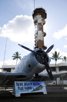 This is a gorgeous shot as it shows the Pacific Aviation Museum in Honolulu, Hawaii. I love how it shows the historic Ford Control Tower in the background.