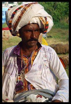 Rabari man of Rural Kutch in Gujrat, India in traditional attire.
