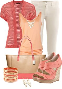 """Peaches of varying shades look spring-like and feminine.  Especially nice with a neutral cream color.  """"Spring Capris 2"""" by averbeek on Polyvore"""