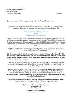 Daseinsvorsorge – FAX Agentur für Arbeit Rosenheim - Sozialgericht München 80634 München Fax: 089/13062-223 19.01.2017 Daseinsvorsorge XXX /. Agentur für Arbeit Rosenheim ALLE Behörden der Bundesrepublik Deutschland sind gemäß Art. 25 Grundgesetz ver…
