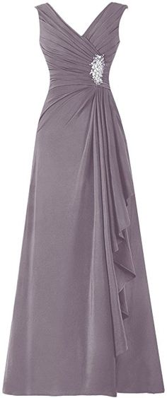 Diyouth Long Chiffon Pleated Ruffles Mother of the Bride Dress Grey Size 2