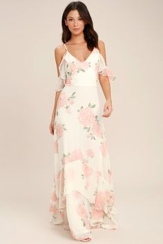 c5c700238cbe7 Lulus | Take You There Ivory Floral Print Maxi Dress | Size Medium | 100%  Polyester