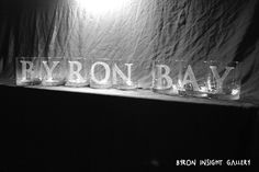 Letters of Byron Bay etched, sandblasted into crystal tumblers