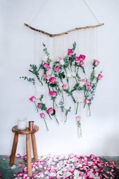 hanging floral vase on a wall
