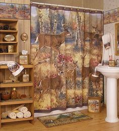 Woodlands Fabric Bathroom Shower Curtain Deer Moose Lodge Cabin Rustic Design Moose Lodge