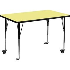 Used Flash Furniture Mobile 30''W x 48''L Rectangular Activity Table with Yellow Thermal Fused Laminate Top and Standard Height Adjustable Legs
