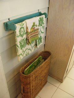 wicker basket for trays...nice idea.