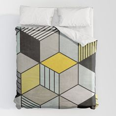 Duvet Cover // Available in 5 sizes, materials: cotton or synthetic // Colorful Concrete Cubes 2 - Yellow, Blue, Grey by Zoltan Ratko // You can find the pillow shams with the same design in my Society6 shop. #nordicdesign #duvet #duvetcovers #duvetsets #duvetcoversets #cube #cubes #abstract #geometric #bedding #bed bedding bed bedroom decor design duvet cover covers set sets duvets art colorful modern scandi society6 geometric scandinavian cube cubes abstract aesthetic pattern patterns Duvet Sets, Duvet Cover Sets, Pillow Covers, Cozy Bedroom, Bedroom Decor, Brown Duvet Covers, Pillow Shams, Pillows, Grey Duvet