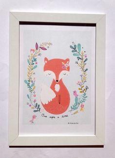 Affiche renard, illustration pour chambre d'enfant format 21x29,7 cm