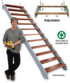 Deck Stairs build with Fast-Stairs' modular adjustable steel stair stringers. Designed for fail-safe DIY deck stairs building and installation. Garage Stairs, Open Stairs, Exterior Stairs, Attic Stairs, Basement Stairs, House Stairs, Diy Garage, Garage Plans, Stairs