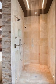 Contemporary Master Bathroom with Dornbracht ceiling mount sqaure rain panel shower head, no showerdoor, Bathtub, Skylight