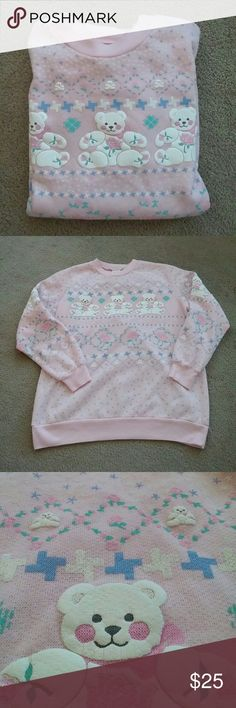 🍁SALE🍁 Vintage Pink Teddy Bear Sweater No trades. Gently used. Very cute vintage teddy bear themed sweater. The graphics are on the front and back as well as both sleeves. This is a vintage sweater sized as Medium. However, in my opinion it looks more like a Large or maybe even XL. Please keep this in mind before purchasing. I ship same or next day! Vintage Tops Sweatshirts & Hoodies