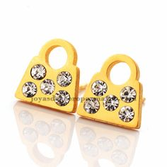 aretes de paquete con cristal de dorado en acero-SSEGG923787