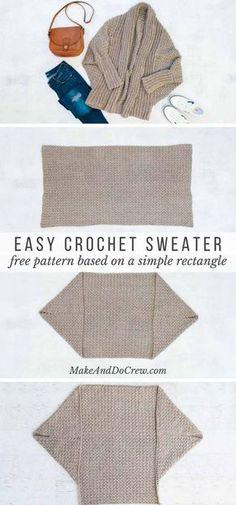 Un suéter hecho de un rectángulo? Este patrón gratuito muestra paso a paso cómo hacer un cardigan de crochet para principiantes. Me encanta lo drapeado y fluido que es esto.