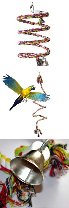 [Visit to Buy] New 160cm Long Parrot Bird Toys Pet Bird Parrot Standing Rope Bird Cage Decoration Climbing Toy Parrot Bird Cage Toys Rope Bell #Advertisement