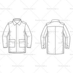 Men's Coat Fashion Flat Template