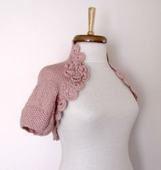 Light Pink Shrug With Flowers Brooch EXPRESS by knittingshop, $62.00