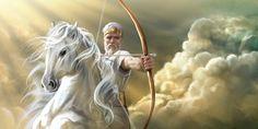 Jesus Cristo cavalgando num cavalo branco e usando uma coroa