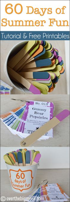 60 days of Summer Fun w/ Tutorial & Printable Cards!  Can always use fun ideas